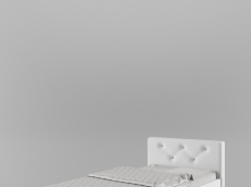 Lit 90/200 tête en PU blanc et strass (215,3 cm x 101 cm x H85 cm)