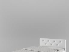 Lit 120/200 tête en PU blanc et strass (215,3 cm x 131 cm x H85 cm)